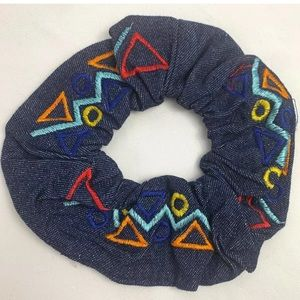 80s Style Hair denim geometric hair scrunchie